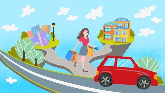 存儲女孩車銀行卡 插畫素材 插畫圖片
