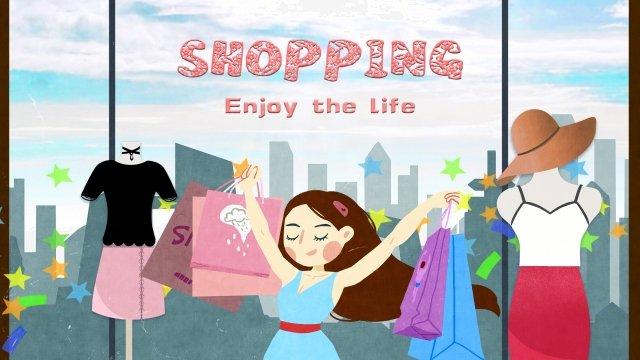 店舗ショッピングカーニバル イラスト素材 イラスト画像