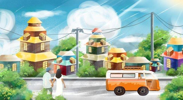 街頭人物汽車房子 插畫素材 插畫圖片