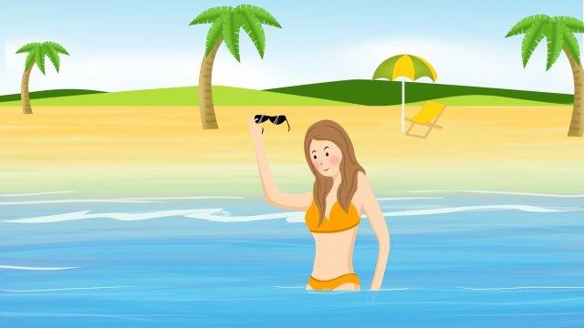 夏季海灘沙灘海邊 插畫素材
