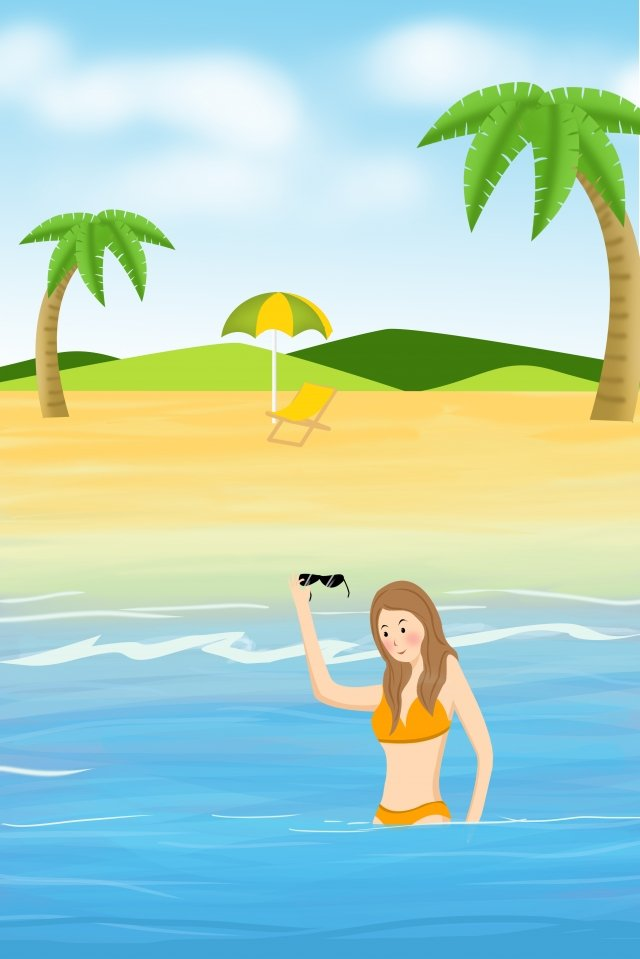 summer beach beach seaside, Blue, Teenage Girl, Swim illustration image