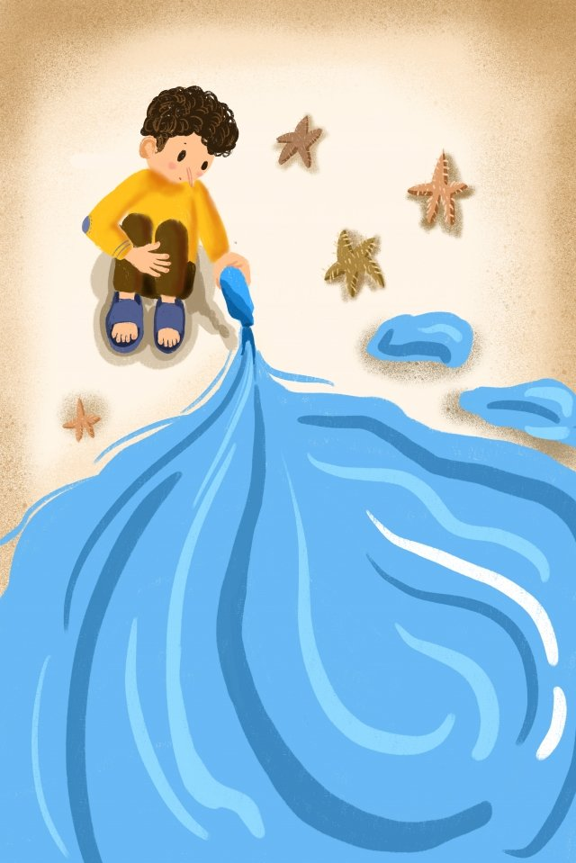 summer beach ocean creative, Hand Painted, Illustration Little Boy, Lovely illustration image
