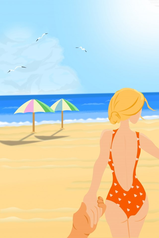 summer beach sexy swimsuit beauty, Summer, Back View, Swimsuit illustration image