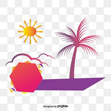 summer beach shore coconut tree, Waterside Plants, Sea, Lifebuoy illustration image