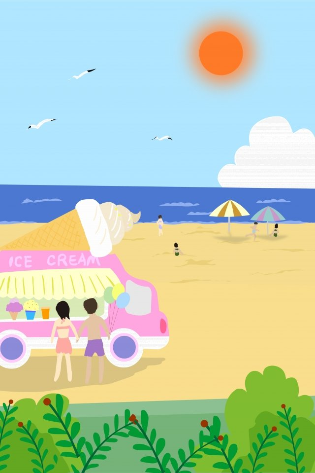 夏のビーチの甘いアイスクリームトラック イラスト画像