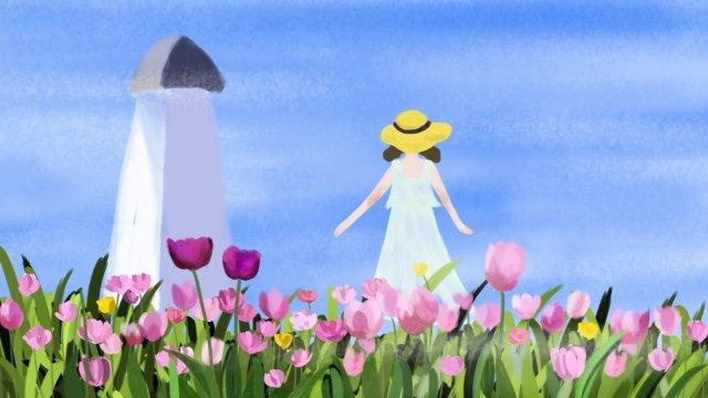 여름 아름다운 꽃 식물 삽화 소재