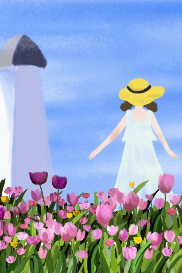 여름 아름다운 꽃 식물 삽화 이미지