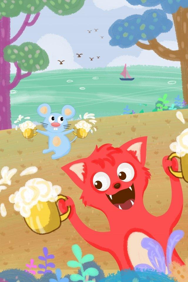여름 맥주 축제 동물 여우 삽화 소재