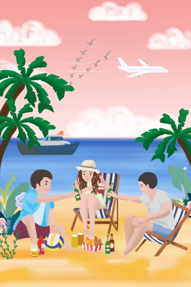 夏天啤酒朋友在海邊喝啤酒 插畫圖片
