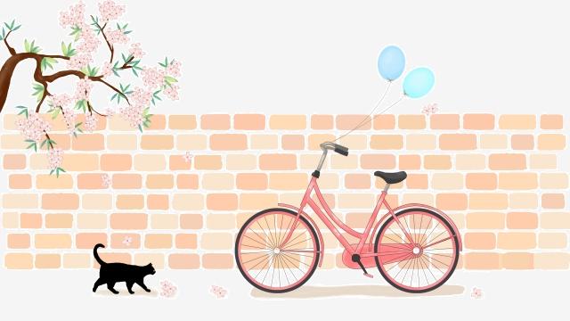 夏自転車猫花の木 イラスト素材 イラスト画像