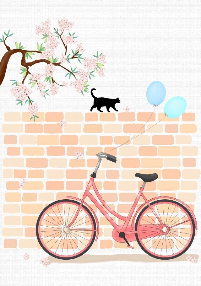 夏自転車猫花の木 イラスト素材