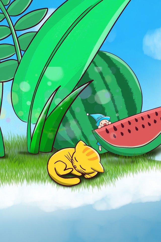 夏天藍天綠色空間植物 插畫素材