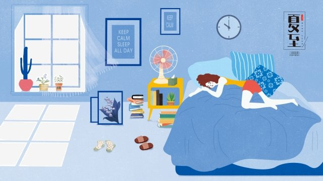 夏の本の女の子のベッド イラストレーション画像 イラスト画像