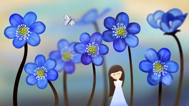 夏のクールな青い花 イラスト素材 イラスト画像