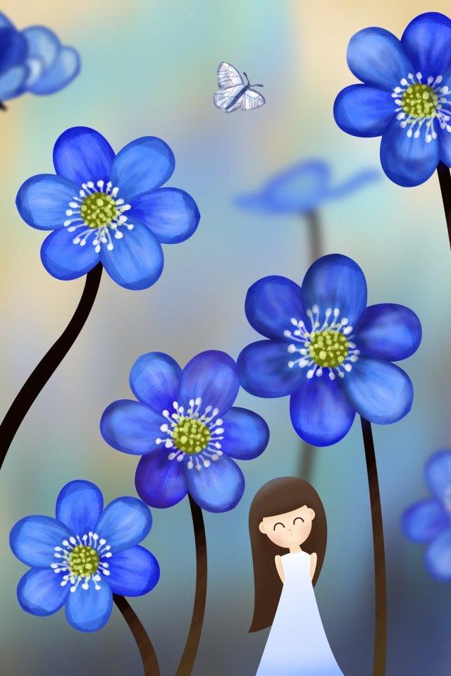 夏天涼爽的藍色花朵 插畫素材