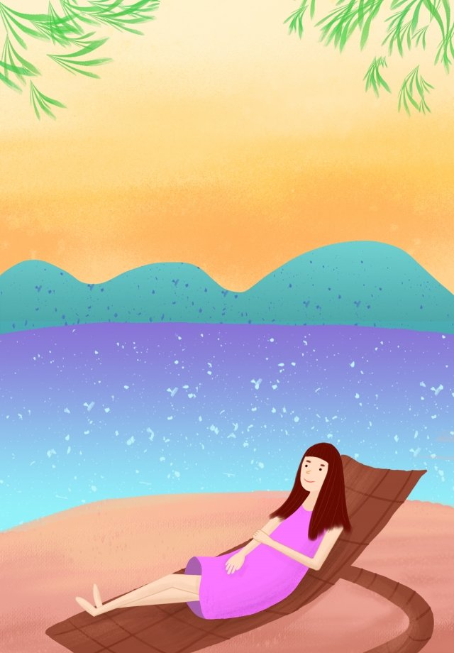 summer cool down hand drawn illustration girl illustration image
