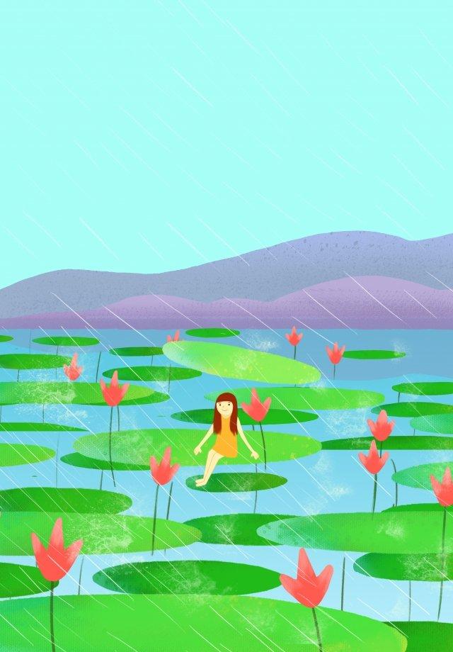 summer cool down hand drawn illustration girl llustration image illustration image