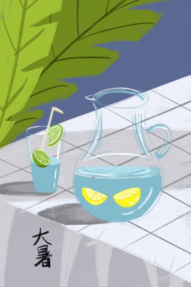 夏天涼爽的檸檬水很熱 插畫圖片