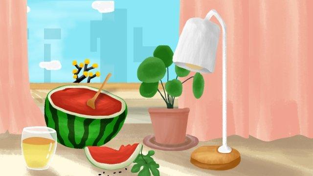 夏天涼窗西瓜 插畫素材 插畫圖片