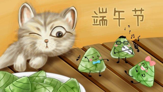 夏のドラゴンボートフェスティバル猫zongzi イラスト素材 イラスト画像