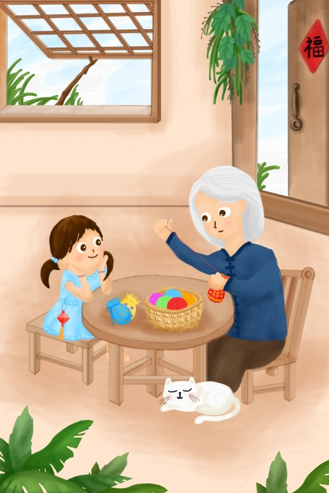 summer dragon boat festival grandmother girl, Cat, Sachet, Hand Painted illustration image