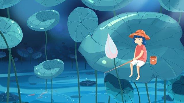 여름 낚시 연꽃 잎 연못 삽화 소재 삽화 이미지