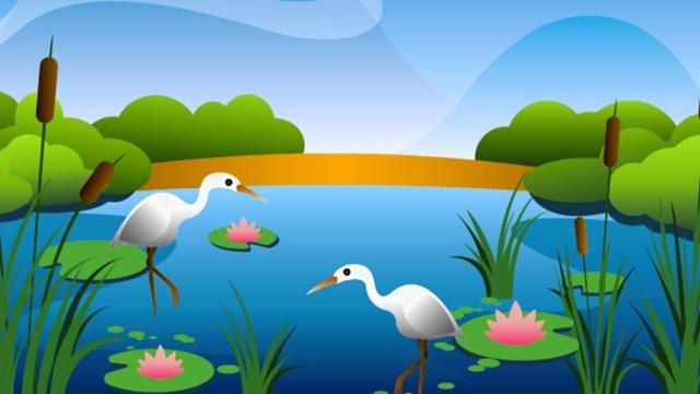 夏季捕魚農村荷花池 插畫素材