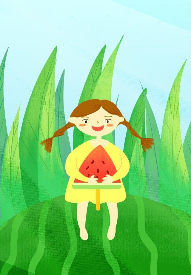 夏の新鮮な手描きイラスト女の子 イラスト素材