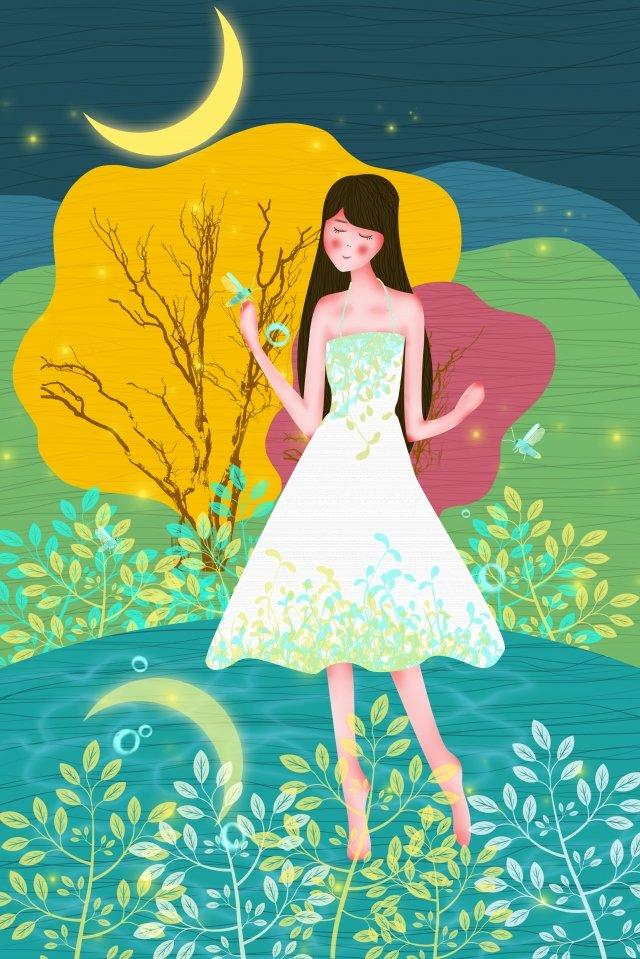 新鮮な森の湖の葉の上の夏の女の子 イラスト素材