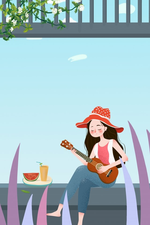 summer girl summer cold drink travel, Outdoor, Say Away, Small Heat illustration image