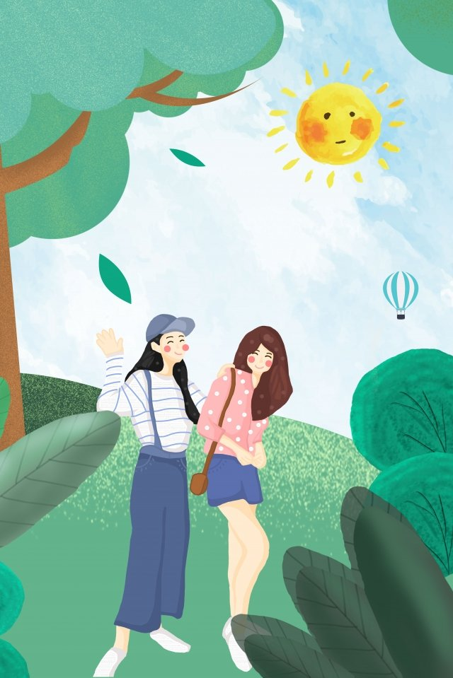 summer graduation trip travel season girlfriend, Cartoon, Propaganda, Camping illustration image