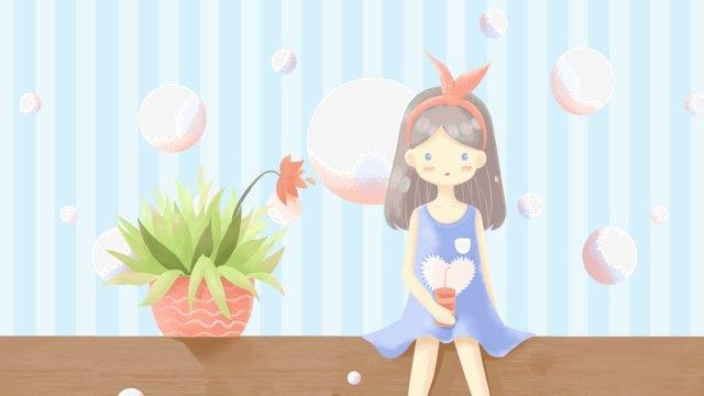 夏天喝冷飲的女孩 夏天 大暑 冷飲 女孩 植物 盆栽 藍色 手繪 插畫夏天喝冷飲的女孩  夏天  大暑PNG和PSD圖片素材 illustration image