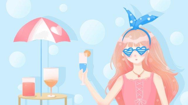 夏天很熱的冷飲女孩 插畫素材 插畫圖片
