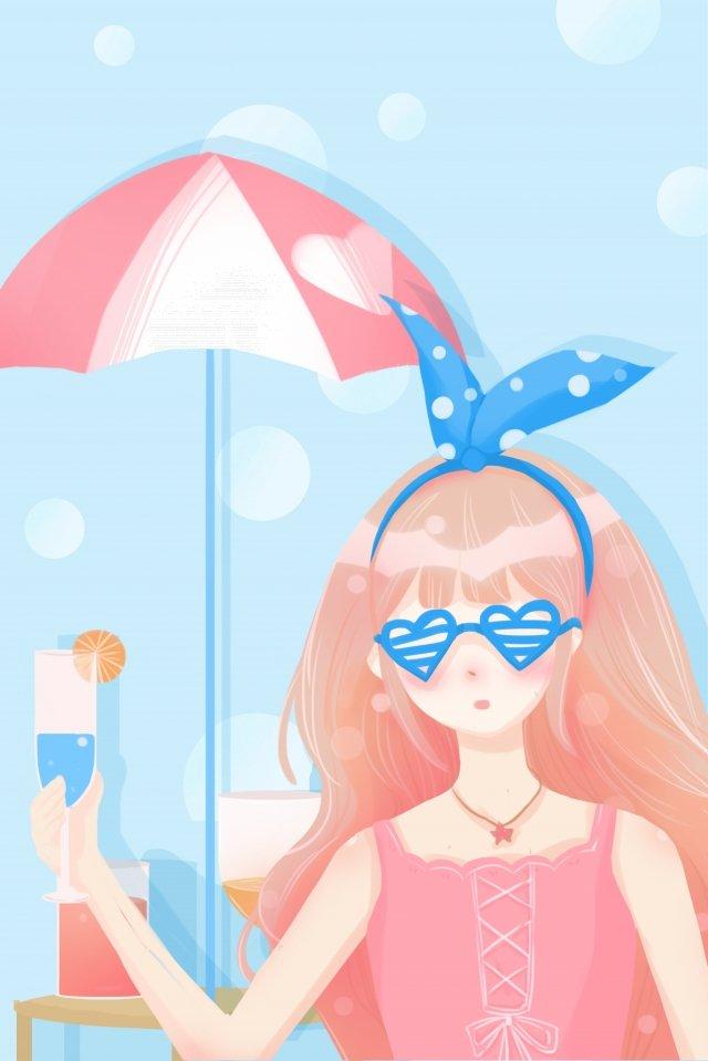 夏天很熱的冷飲女孩 插畫素材