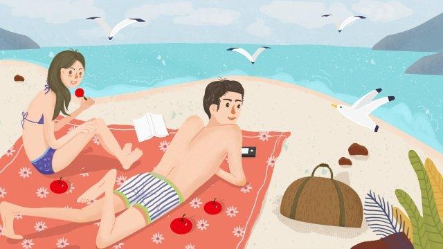 夏天海邊遊玩手繪插畫 夏天 大暑 游泳 情侶 遊玩 海邊 手繪 海鷗 悠閒夏天  大暑  游泳PNG和PSD圖片素材 illustration image