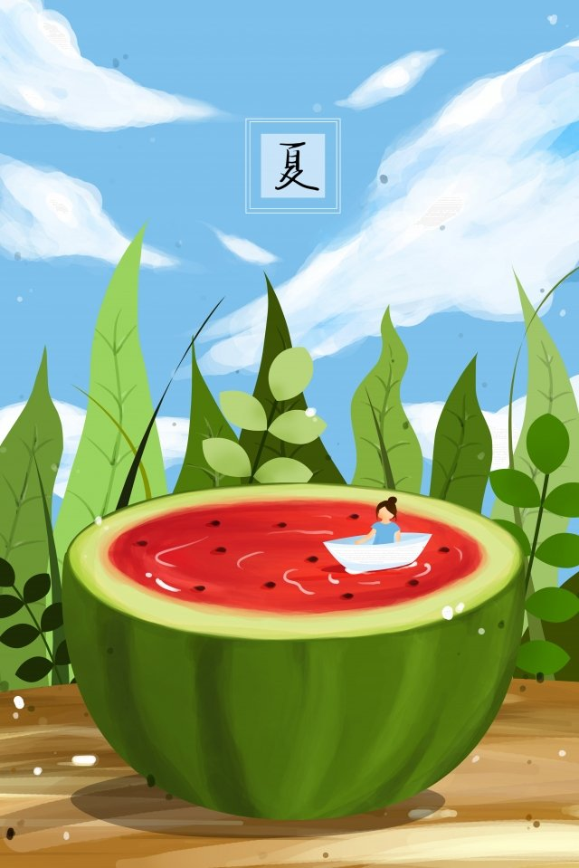 summer half a watermelon little man sitting in the boat girl llustration image