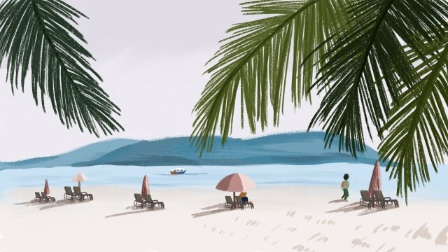 summer hand painted illustration island, Tourism, Green, Sea illustration image
