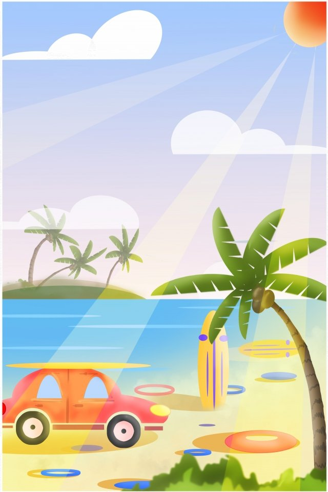 summer hot beautiful happy illustration image