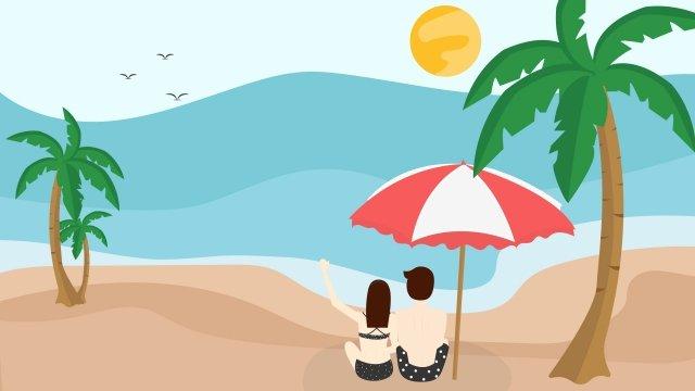 夏天炎熱的一天海看著大海 插畫素材