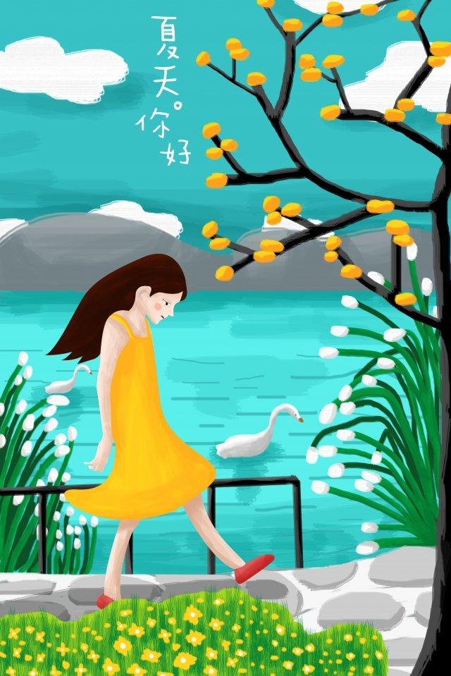summer illustration girl seaside, Big Goose, Plant, Fruit Tree illustration image