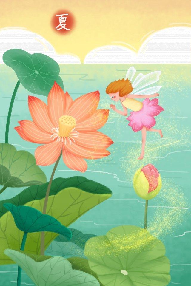 summer illustration lotus pond lotus illustration image