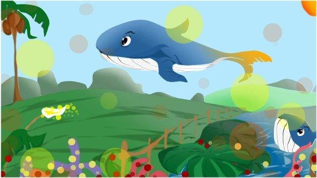 여름 풍경 동물 행복 삽화 소재 삽화 이미지