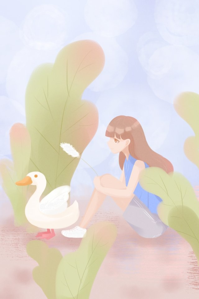 summer lily duck duck girl, Green, Hand Painted, Illustration illustration image