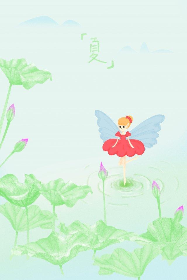 summer lotus leaf lotus red skirt llustration image