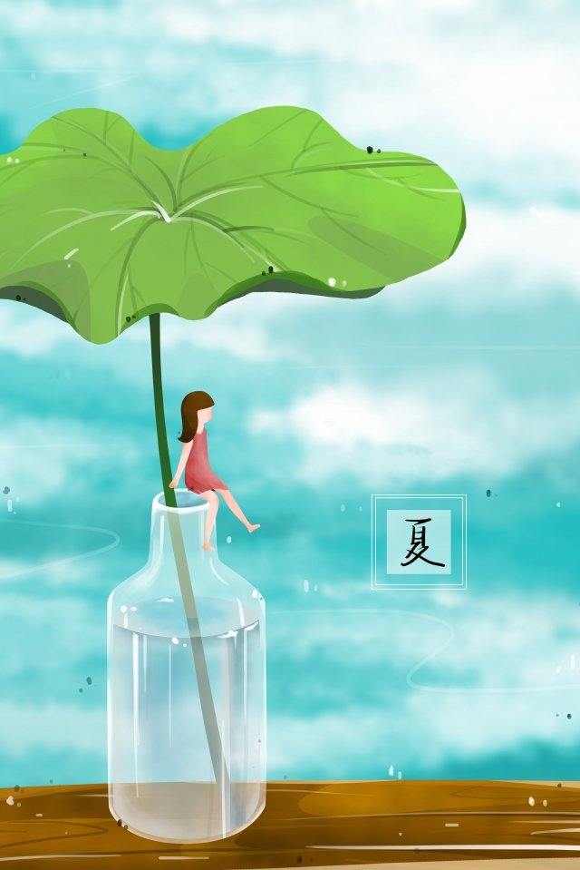summer lotus leaf river water glass bottle llustration image