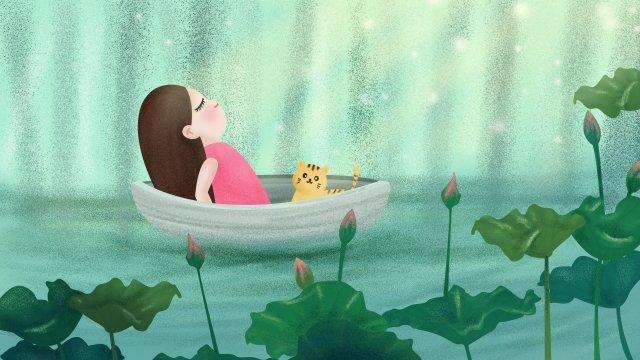 여름 로터스 연못 연꽃 잎 소녀 삽화 소재