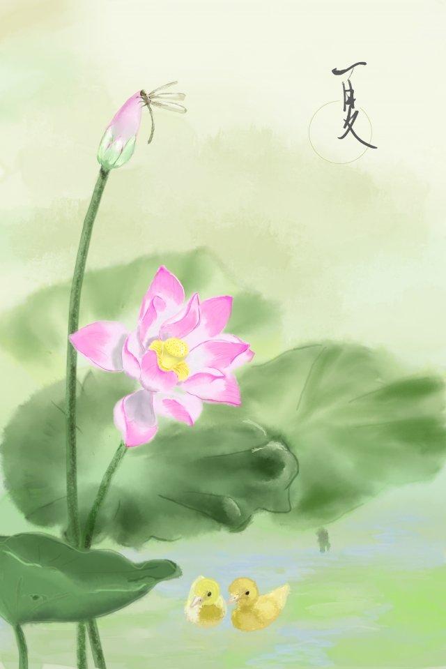 ग्रीष्मकालीन कमल जल रंग स्याही चित्रण छवि