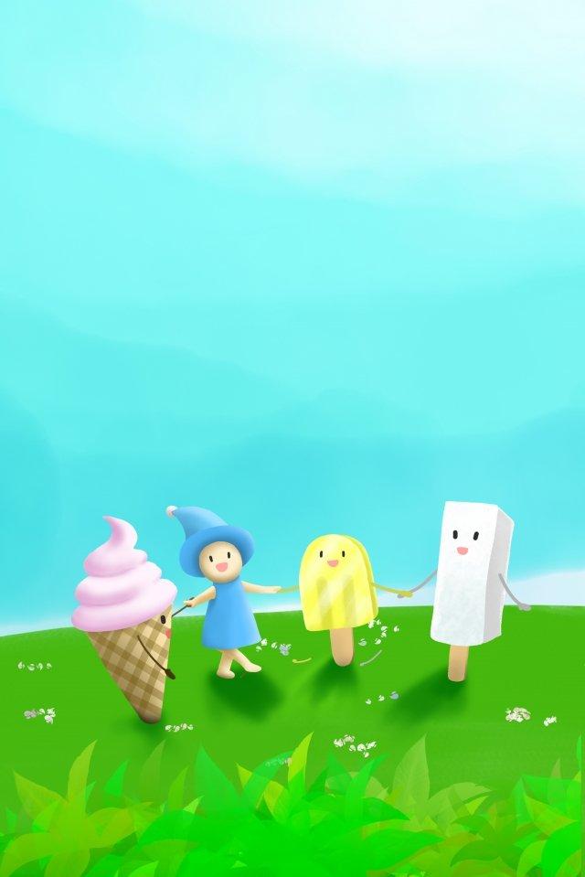 夏の真夏の新鮮な草原 イラスト素材 イラスト画像