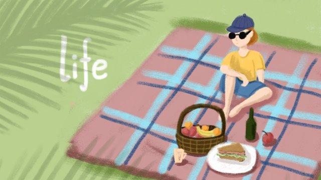 夏季野外休閒玩樂背景圖 夏季 盛夏 大暑 食物 現代 野炊 戶外 草地 手繪夏季  盛夏  大暑PNG和PSD圖片素材 illustration image