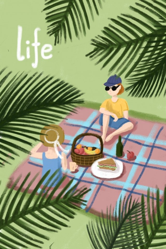 夏季野外休閒聚餐插畫 夏季 盛夏 大暑 現代生活 手繪 插畫夏季野外休閒聚餐插畫  夏季  盛夏PNG和PSD圖片素材 illustration image